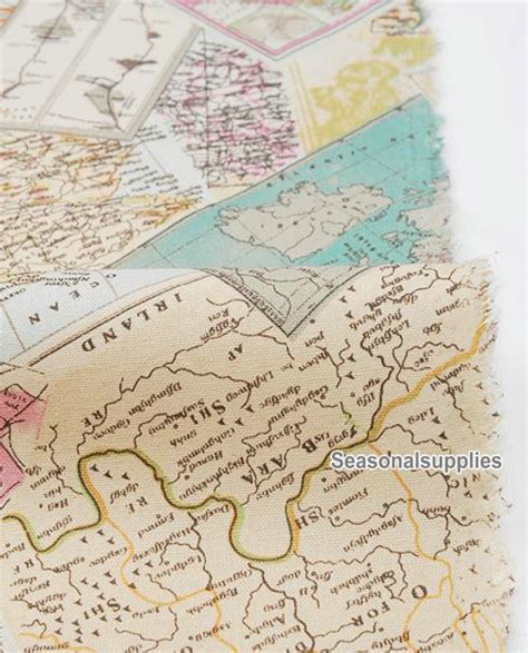 map fabric retro cotton linen fabric vintage map fabric by seasonalsupplies