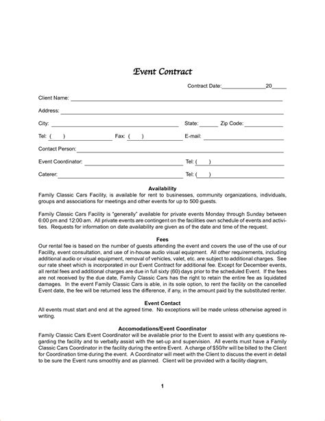 8 event contract templatereport template document