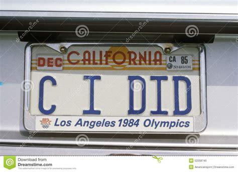 vanity license plate california editorial image image