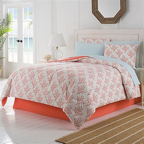 coral bedding set isla comforter set in coral bed bath beyond