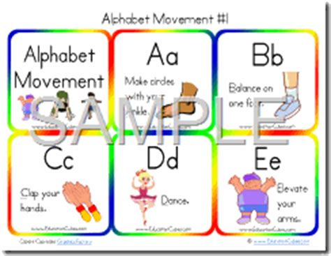 printable alphabet movement cards education cubes abc movement physical activities