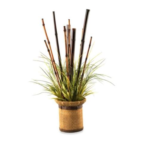 decorative bamboo canes in a wood grain planter artificial bamboo buy nearly natural bamboo decorative planter from bed bath