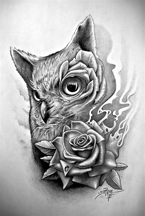 owl and rose tattoo collection of 25 owl with sugar skull and roses