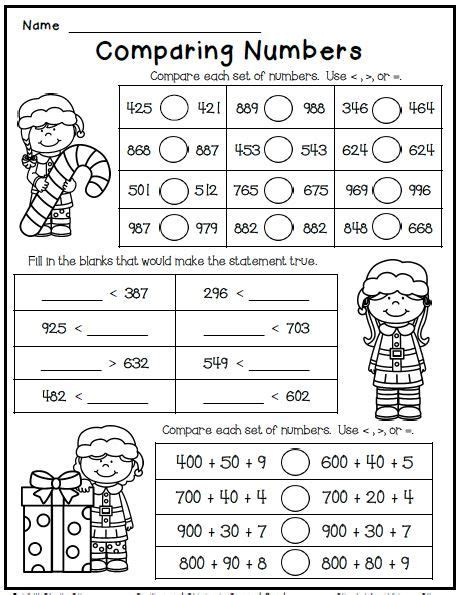 printable comparing numbers games christmas math worksheet freebie for second grade