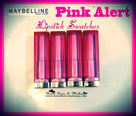 Maybelline Pink Alert maybelline pink alert lipsticks swatches pow 1 pow 2 pow 3 pow 4 bows makeup