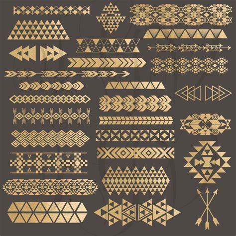 gold african pattern tribal borders digital clip art gold foil tribal aztec