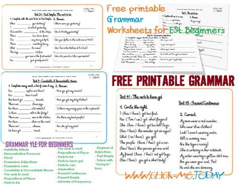 printable english worksheets grammar free printable esl grammar worksheets for beginners