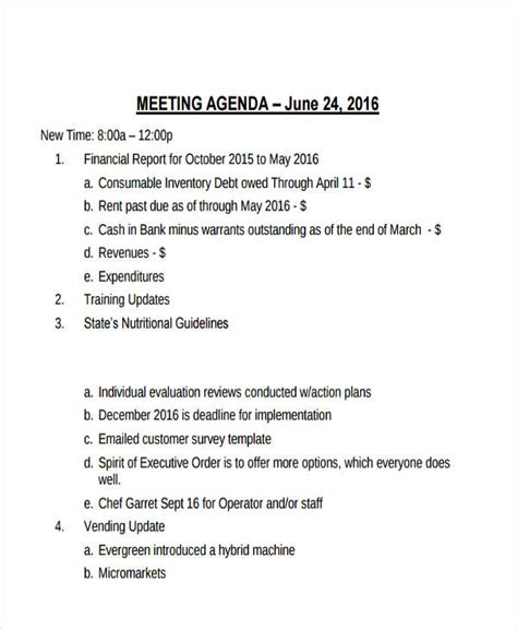 vendor meeting agenda template 21 management agenda exles sles