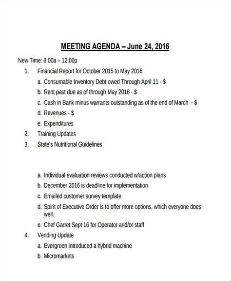 21 management agenda exles sles