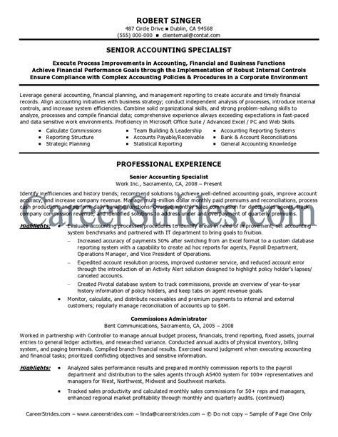 Senior Accountant Resume Exles by Accounting Resume Sles