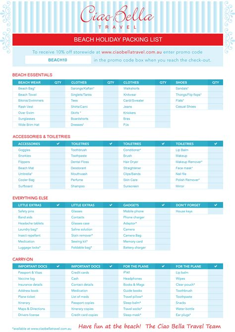printable holiday travel checklist printable beach vacation packing list packing list