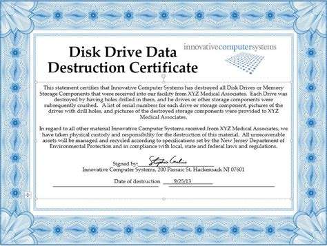 certificate of data template innovative computer systems destroy drives to