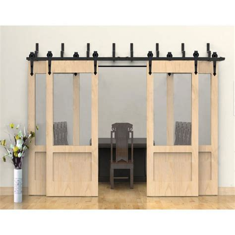 bypass barn doors winsoon modern 4 doors bypass sliding barn door hardware track kit 5 16ft arrow