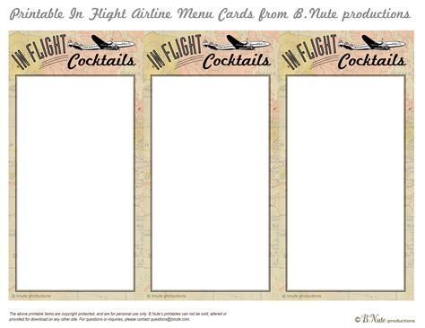 Airline Ticket Gift Card - bnute productions free printable in flight menu cards airline ticket party