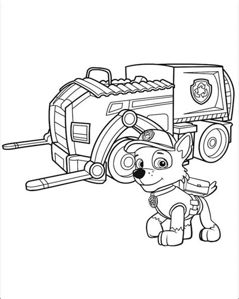 paw patrol coloring page birthday rocky and his recycling truck paw patrol coloring pages