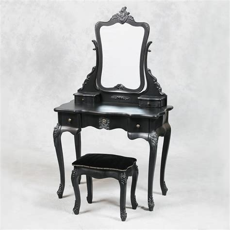 Vanity Mirror Dressing Table And Stool by Style Antique Black Dressing Table Mirror And Stool Set Bedroom Furniture Reviews