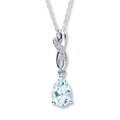 Aquamarine Jewelry by Aquamarine Necklace Pear Shaped With Diamonds 10k