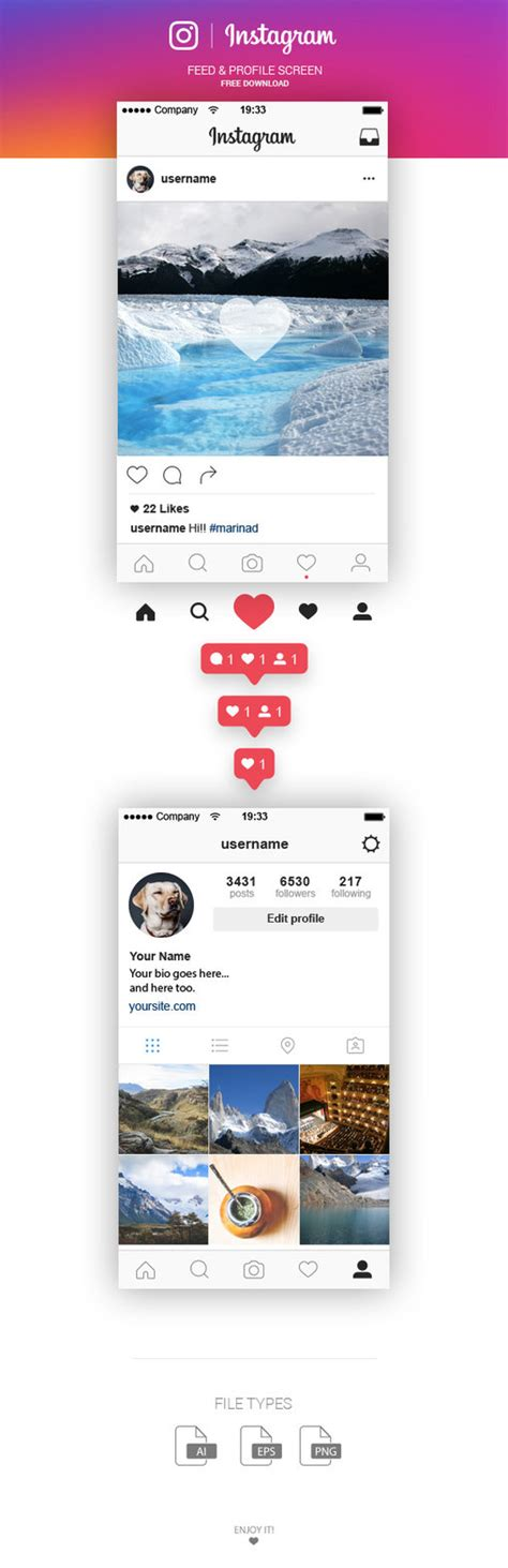 instagram layout ai free instagram feed and profile screen ui 2016 by