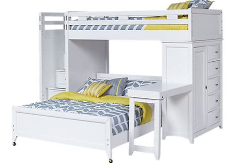 league white step loft bunk w chest and desk