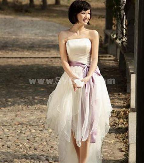 Korean Satin Flo mtf strapless korea a line asymmetrical sash dress