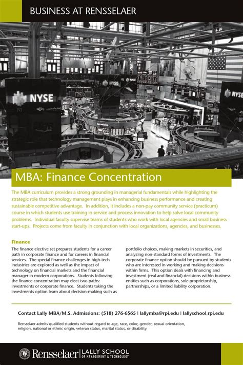 Rice Mba Finance Concentration by Mba Finance Concentration By Business At Rensselaer Issuu