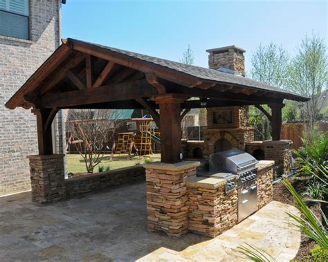 overhead structure grilling station fireplace