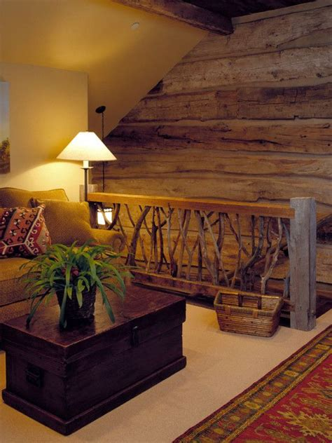 stunning rustic cabin plans loft with wooden staircase a loft type nook could make a cool cozy space for media