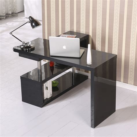 Home Goods Small Desks Homcom Rotating Office Desk And Shelf Combo Black