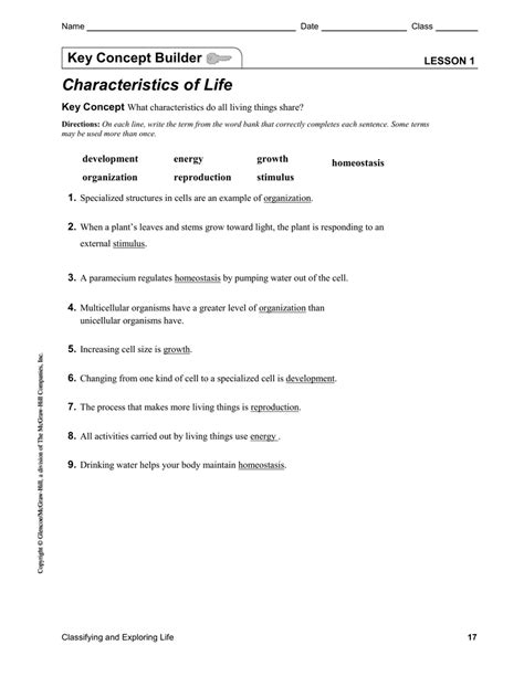 Characteristics Of Living Things Worksheet Answers Key