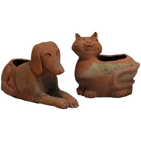 Terracotta Cat Planter by Pair Of Quot Cat And Quot Terracotta Planters From At