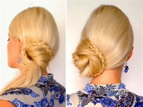 braided ponytail hairstyle for long hair tutorial top knot