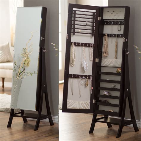 fully locking jewelry armoire belham living large standing mirror locking cheval jewelry armoire espresso