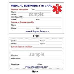 wallet id card template details about emergency wallet card for