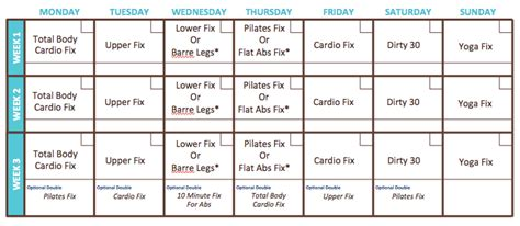 which home workout 21 day fix workout calendar which