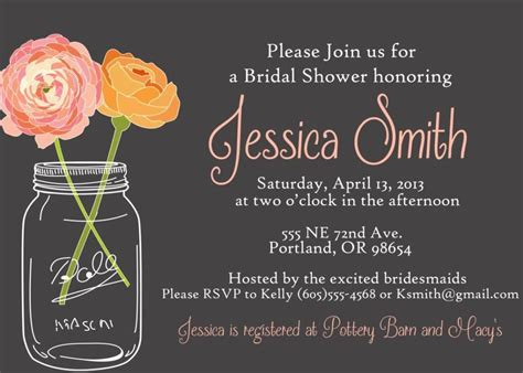 jar bridal shower invitations templates