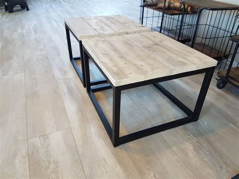 ronde salontafel hout staal salontafel kubus firma hout staal