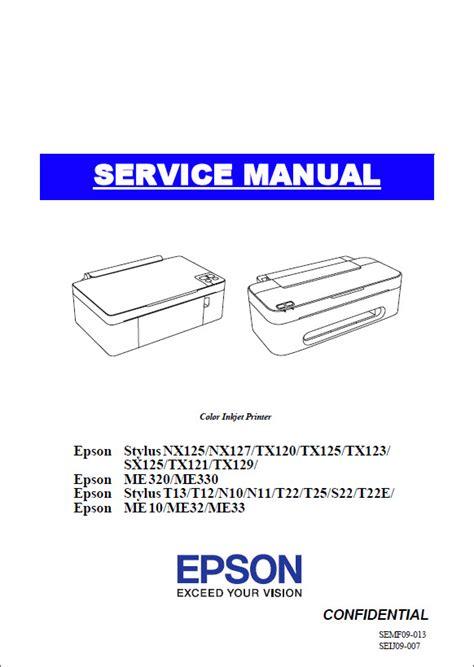 reset epson tx121 t22 epson me330 me33 stylus t13 t22 tx121 service manual