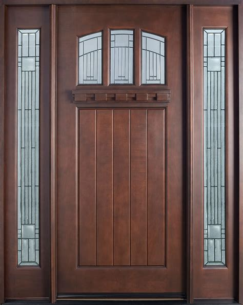 Exterior Door Wood Entry Door In Stock Single With 2 Sidelites Solid Wood With Mahogany Finish Craftsman