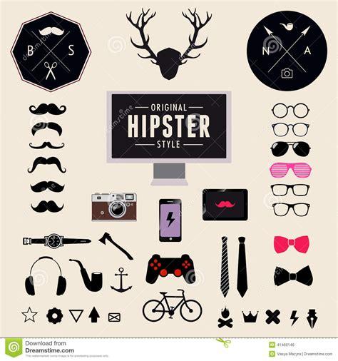 hipster design elements vector set of vintage styled design hipster icons vector