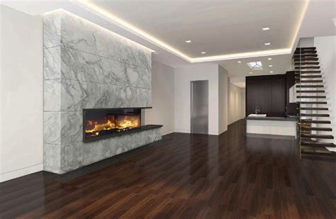 custom linear gas fireplace with culcatta marble modern