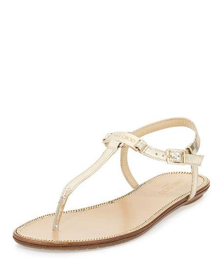 Sandal Flat Wave jimmy choo wave metallic leather sandal chagne