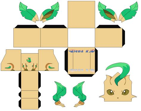 Leafeon Papercraft - rifia leafeon shiny v2 color by zienaxd on deviantart