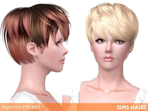 short female hair sims 3 skysims s 156 short hairstyle highlight edit by sims hairs