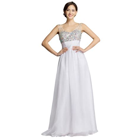 Cheap Floor Length Evening Dresses cheap retail price floor length empire white chiffon