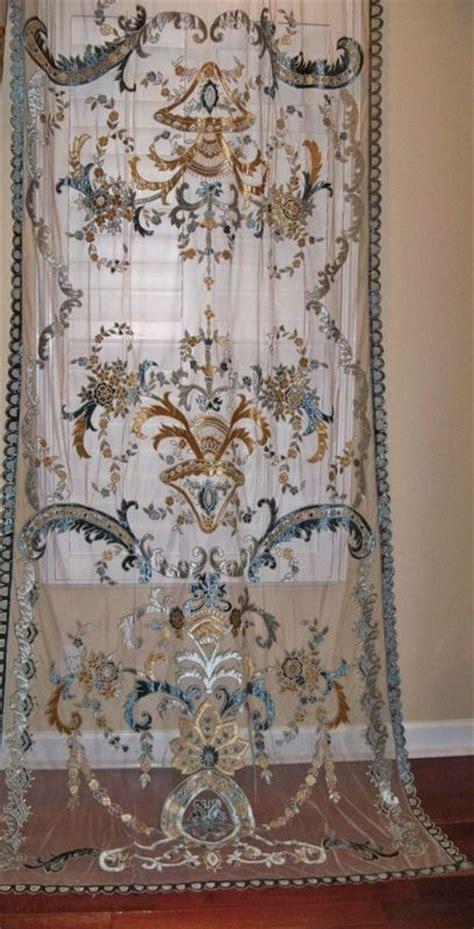 Cream Drapes Italian Embroidered Velvet Fabric Sheer Drapes Panel