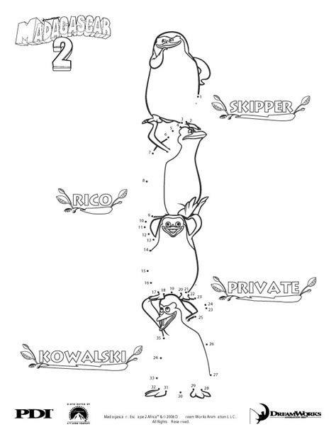 madagascar 2 penguins dot to dot picture coloring pages