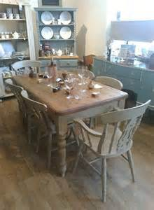 shabby chic farmhouse style table with 4 fiddleback chairs