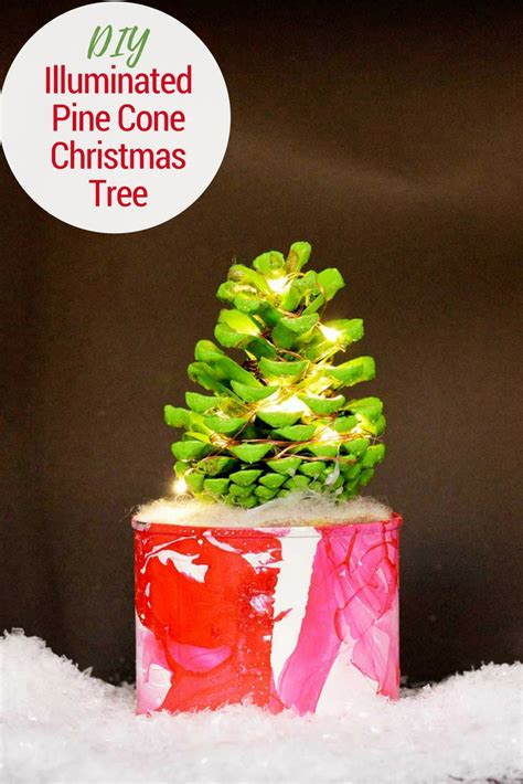 how to make pine cone tree with lights pillar