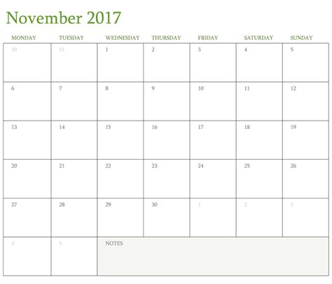 November 2017 Printable Calendar Template Holidays Excel Word Northbridge Times Time Calendar Template 2017