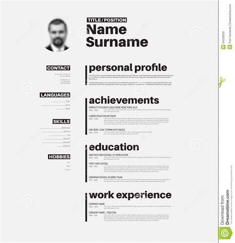 Free Typographic Resume Template Cv Resume Template With Typography Stock Vector